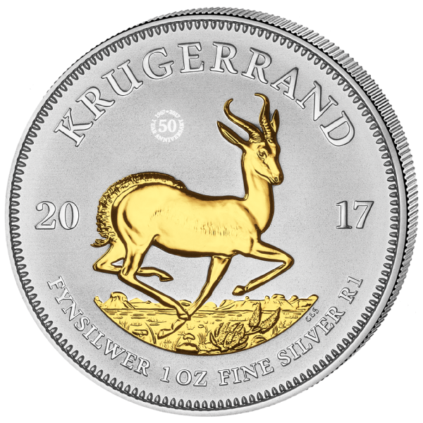 2017 1 Oz South African Silver Krugerrand Coin Gilded Bu