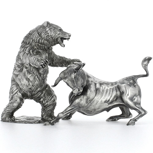Buy 20 Oz Antique Finish Bull And Bear Silver Statue Set