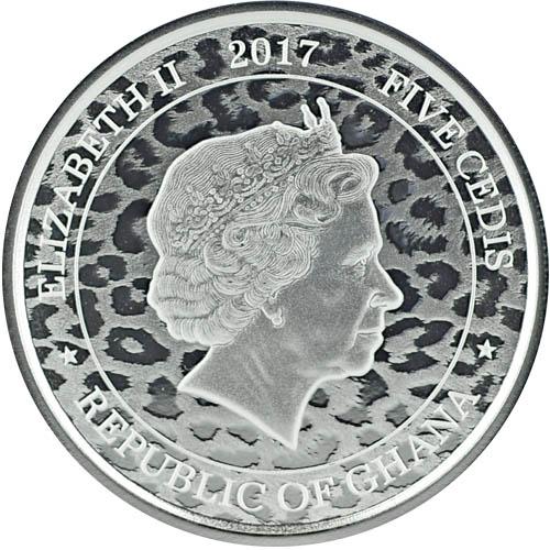 2018 Republic of Ghana 5 Cedis 1 oz .999 Silver African Leopard Round Coin BU
