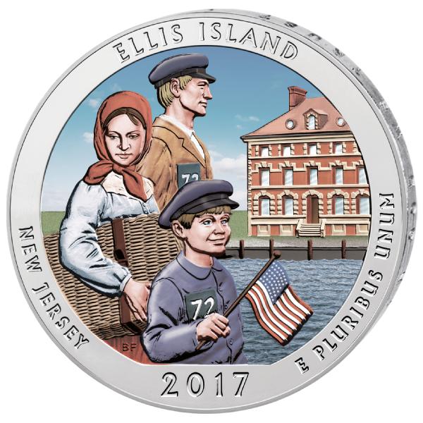 "2017 S Ellis Island National Park Quarter New Jersey /""BU/"" ATB"