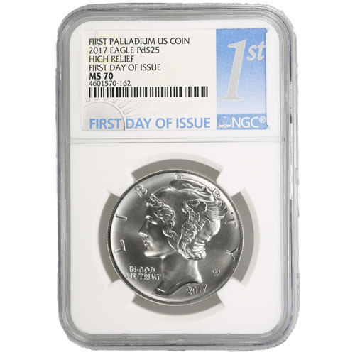 2017 1 Oz American Palladium Eagle Coin Ngc Ms70 First