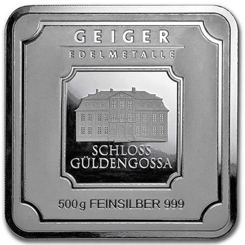 500 Gram Geiger Square Silver Bar New L Jm Bullion