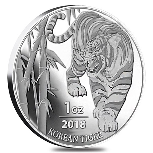 2018 1 Oz Korean Tiger Silver Medal Bu L Jm Bullion