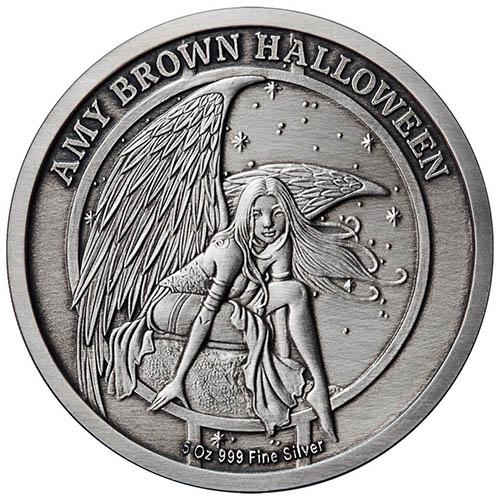 Amy Brown Halloween 1 oz .999 silver proof Haunted Pumpkin Patch fairy ART NEW!