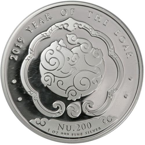 2019 1 oz Kingdom of Bhutan Lunar Boar Silver Coin (BU)