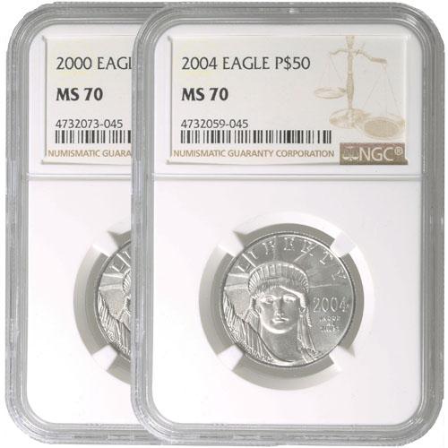 2008 W 1//2 oz $50 Burnished Platinum American Eagle NGC MS 70
