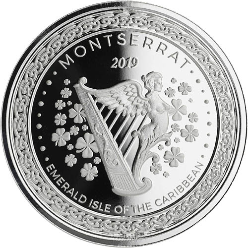 2019 Emerald Isle of the Caribbean $2 1oz Montserrat Silver Bullion Coin