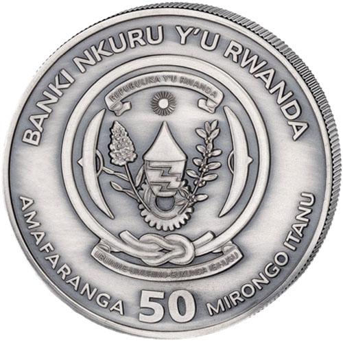 2020 1 oz High Relief Antique Silver Coin Rwanda MAYFLOWER NAUTICAL OUNCE