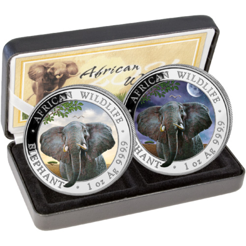 2021 1 oz Somalia Silver Elephant Day and Night Two-Coin ...