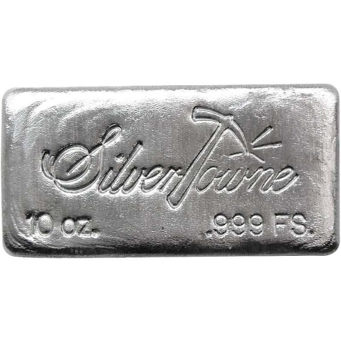 10 Oz Silvertowne Poured Silver Bar New