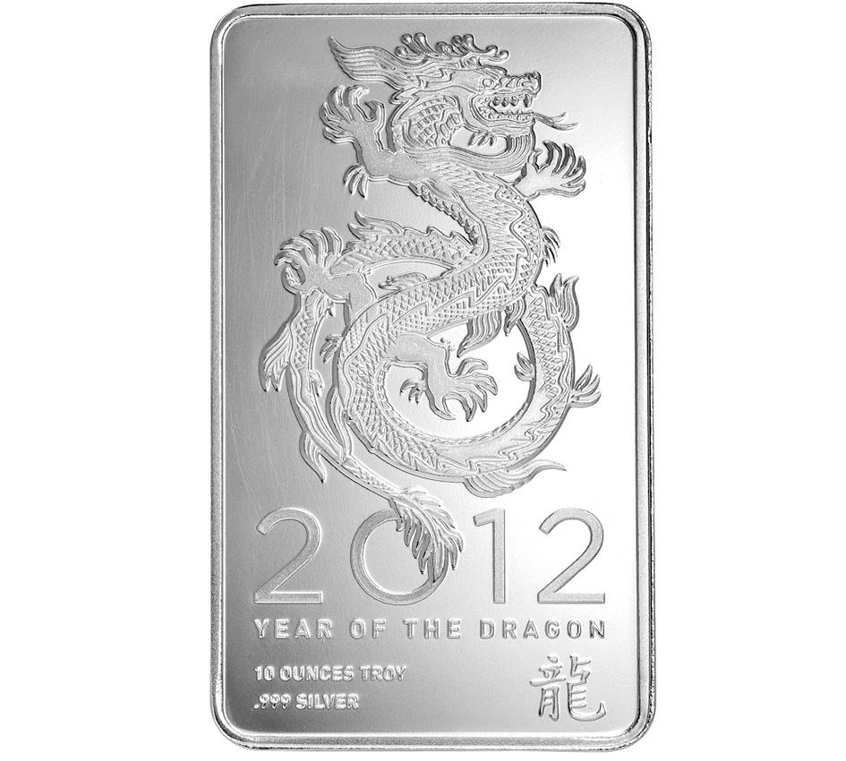 1 Oz Year Of The Dragon Silver Bar 999 Fine